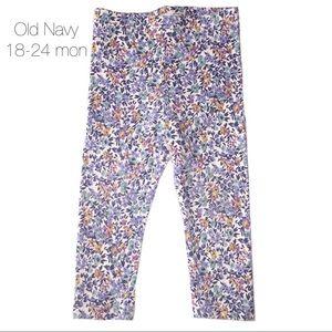 Old Navy Blue Floral Leggings 18-24 mon